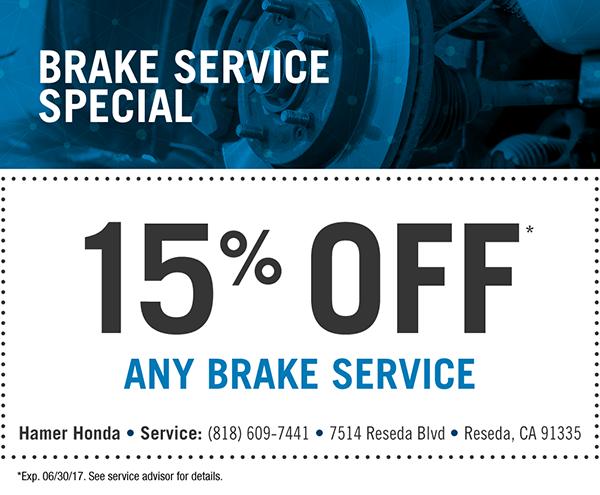Service specials hamer honda for Honda brake service coupons