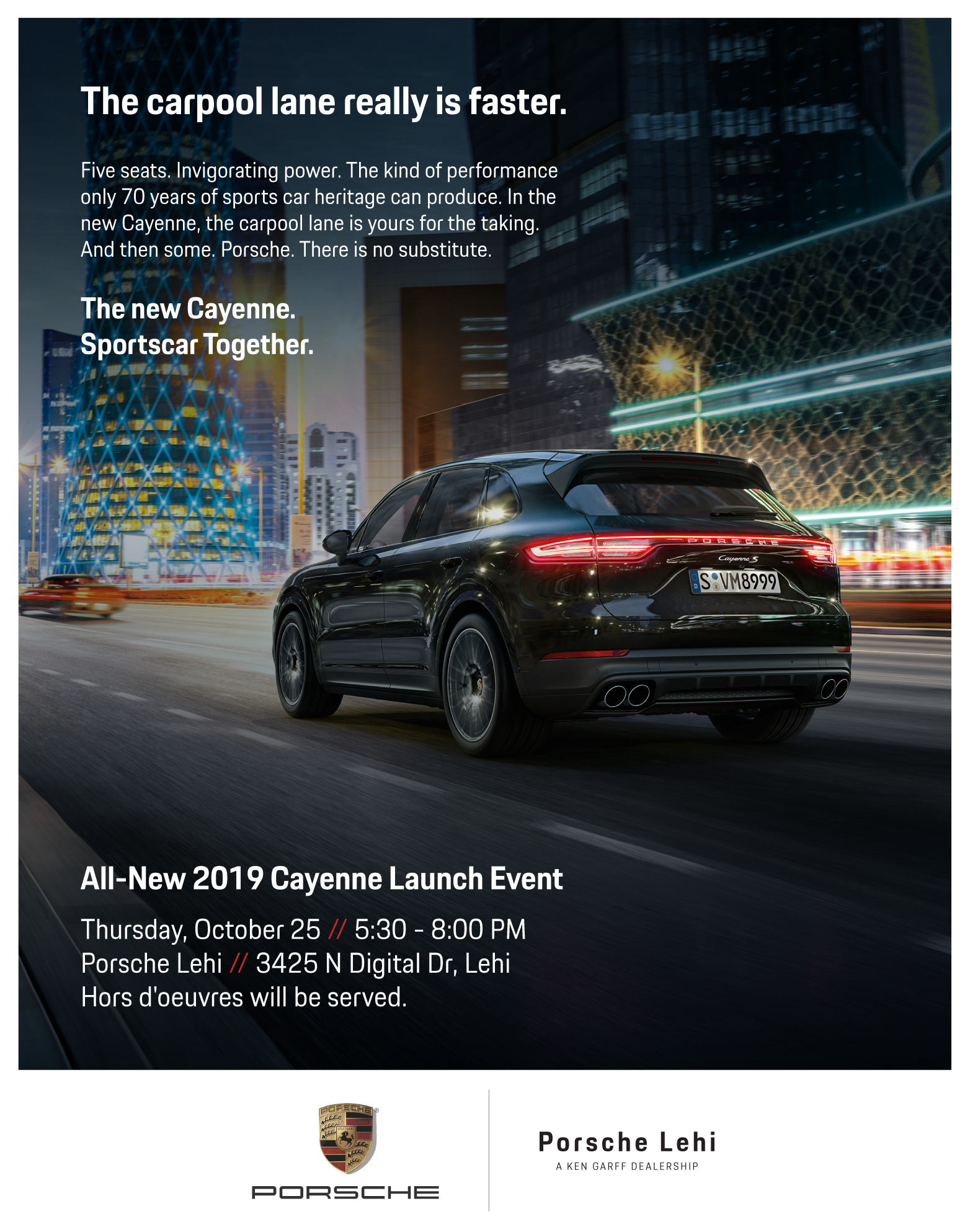 All-New 2019 Cayenne Launch Event // Porsche Lehi // October 25 // 5:30 - 8 PM